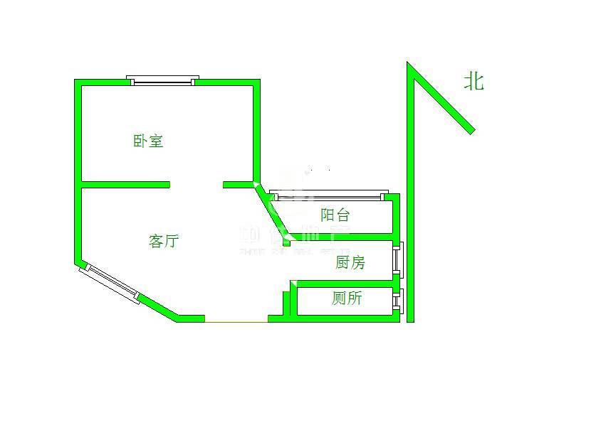 济钢新村中心区一室一厅南北通透 全明户型